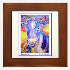 Cow! Purple cow art! Framed Tile