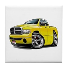 Dodge Ram Yellow Dual Cab Tile Coaster