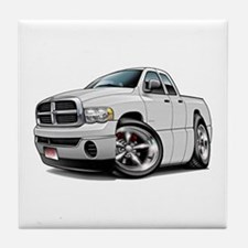 Dodge Ram White Dual Cab Tile Coaster