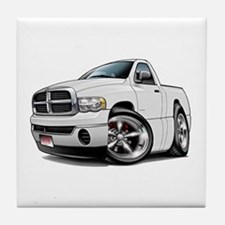 Dodge Ram White Truck Tile Coaster