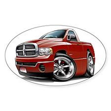 Dodge Ram Maroon Truck Oval Decal