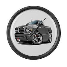 Dodge Ram Grey Truck Large Wall Clock