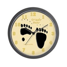 Grizzly Bear Tracks Wall Clock