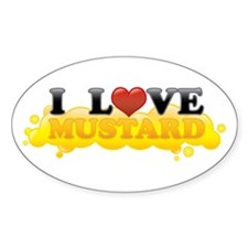 I Love Mustard Oval Decal