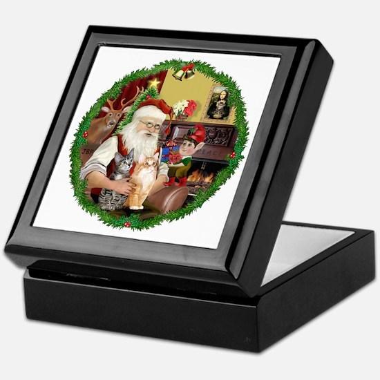 Santa's 2 Tabby Cats Keepsake Box