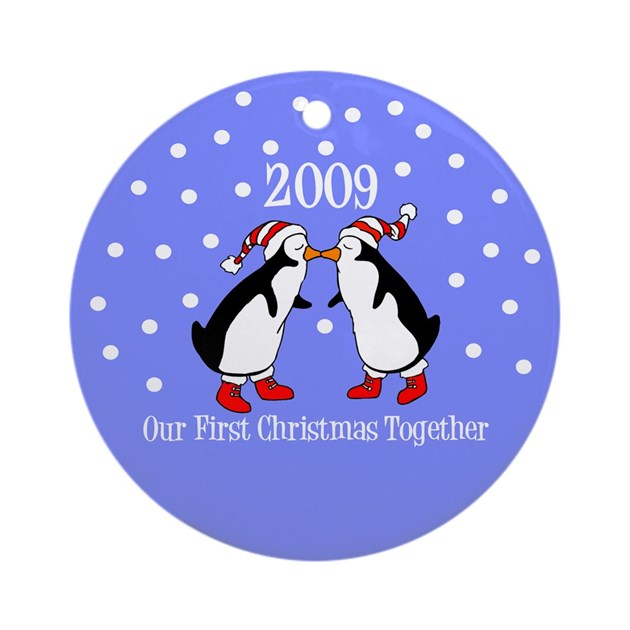 Our first christmas together penguins ornament by lushlaundry