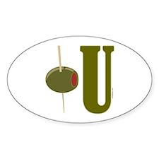 OLIVE U (I LOVE YOU) Oval Decal