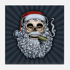 Smokin' Santa Skull Tile Coaster