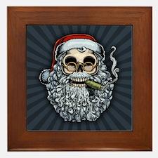 Smokin' Santa Skull Framed Tile