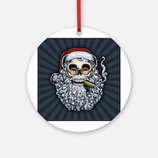 Smokin' Santa Skull Ornament (Round)