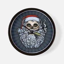 Smokin' Santa Skull Wall Clock