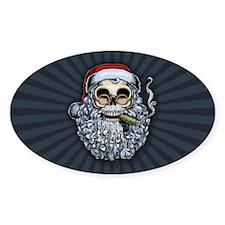 Smokin' Santa Skull Oval Decal
