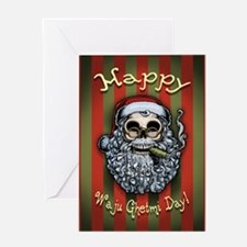Smokin' Santa Skull Greeting Card
