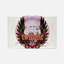 Twilight Santa Winged Crest Wreath Rectangle Magne