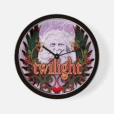 Twilight Santa Winged Crest Wreath Wall Clock