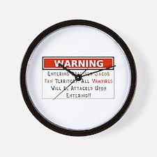 Warning Vampires Attacked Wall Clock