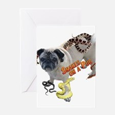 Snakes on a Pug Greeting Card