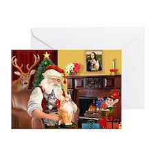 Santa's 2 Tabby Cats Greeting Cards (Pk of 20)