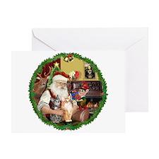 Santa's 2 Tabby Cats Greeting Card