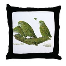 Kakapo and Chicks Throw Pillow