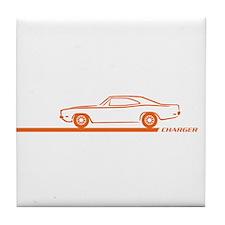1968-70 Charger Orange Car Tile Coaster