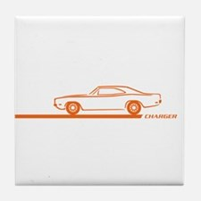 1968-70 Charger Orange Car Tile Coaster
