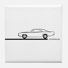 1968-70 Charger Black Car Tile Coaster
