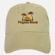 Virginia Beach VA - Sun and Palm Trees Design Baseball Baseball Cap