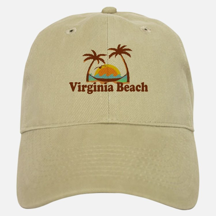 Virginia Beach VA - Sun and Palm Trees Design Baseball Baseball Cap