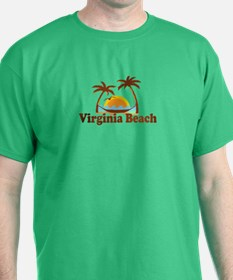 Virginia Beach VA - Sun and Palm Trees Design T-Shirt