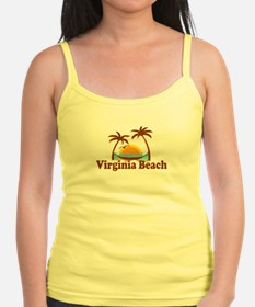 Virginia Beach VA - Sun and Palm Trees Design Jr.Spaghetti Strap