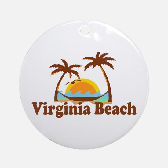 Virginia Beach VA - Sun and Palm Trees Design Orna