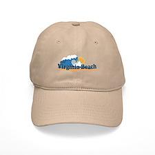 Virginia Beach VA - Sun and Waves Design Baseball Cap