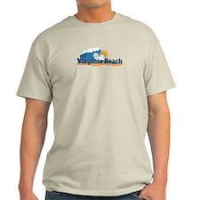 Virginia Beach VA - Sun and Waves Design T-Shirt