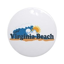 Virginia Beach VA - Sun and Waves Design Ornament