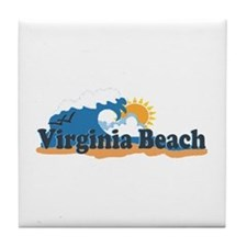 Virginia Beach VA - Sun and Waves Design Tile Coas