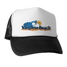 Virginia Beach VA - Sun and Waves Design Trucker Hat