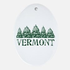 VT Winter Evergreens Ornament (Oval)
