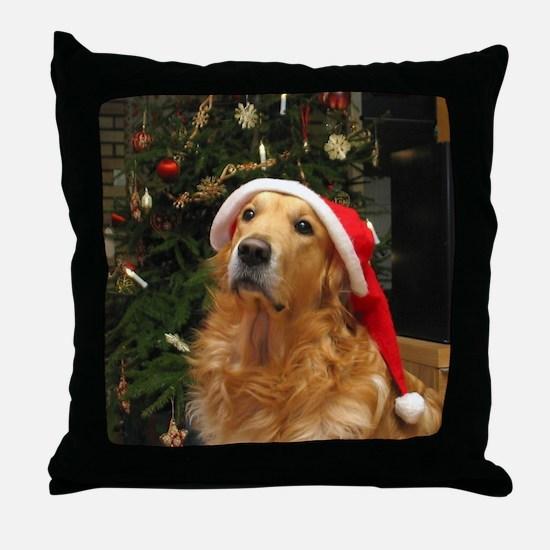 Golden Santa Throw Pillow