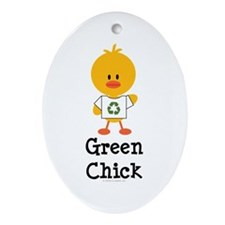 Green Chick Oval Ornament