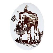 Oval Ornament Swiss Goat kid with Basket