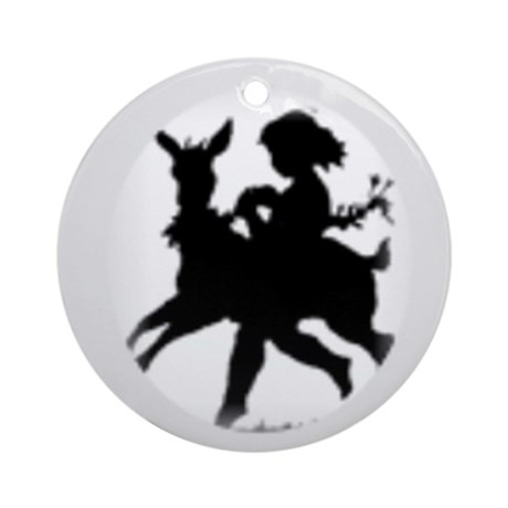 Round OrnamentGirl and Goat Silhouette