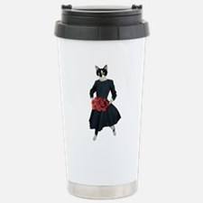 Cat Dress Roses Travel Mug