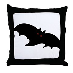 Gothic Black Bat Throw Pillow