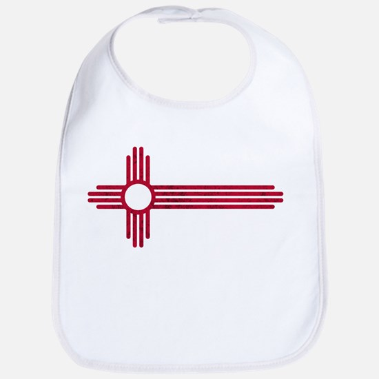 Red Stretched ZIA NM State Flag Baby Bib