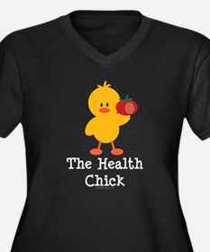 The Health Chick Women's Plus Size V-Neck Dark T-S