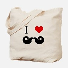 I Love Curly Mustaches Tote Bag