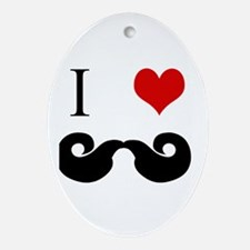 I Love Curly Mustaches Oval Ornament
