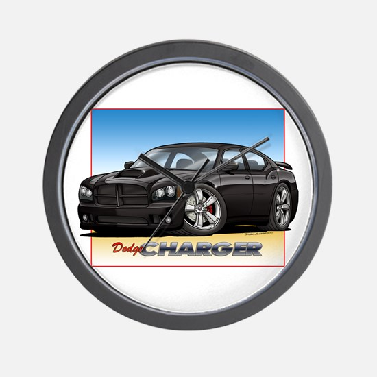 Black Dodge Charger Wall Clock