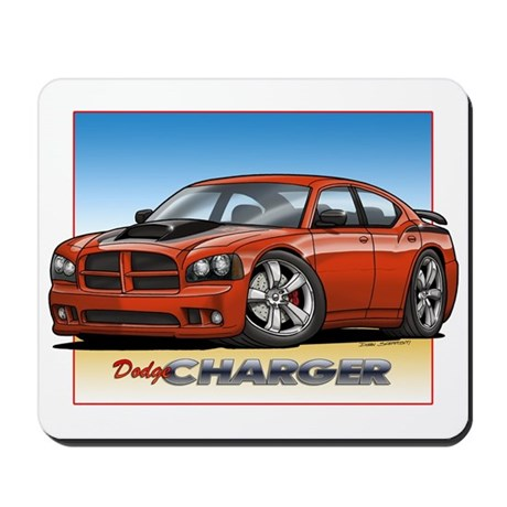 Orange Dodge Charger Mousepad